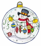 PP8773 Snowman With String Of Ornaments In Ornament