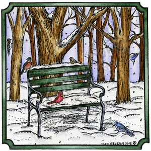 Winter Bench With Birds In Notched Square PP870