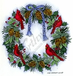 PP8895 Cardinal And Pine Cone Wreath