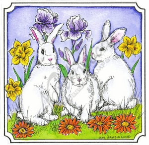 PP8996 Three Bunnies In Notched Square