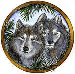 PP9043 Two Wolves And Pine Circle