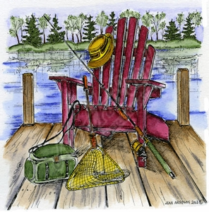 PP9106 Chair On Dock With Fishing Gear