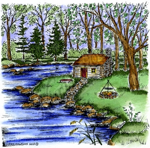 PP9108 Cabin In Woods By Stream