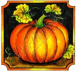 PP9192 Pumpkin And Leaves In Notched Square