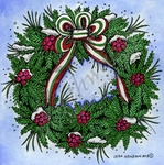 PP9261 Boxwood, Berry And Bow Wreath