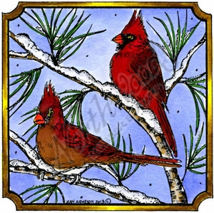 PP9311 Cardinals On Pine In Notched Square