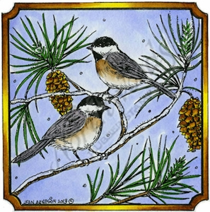 PP9313 Chickadees On Pine In Notched Square