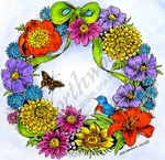 PP9474 Spring Floral Wreath With Bird And Butterfly