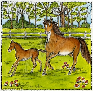 PP9522 Galloping Horses In Deckle Frame