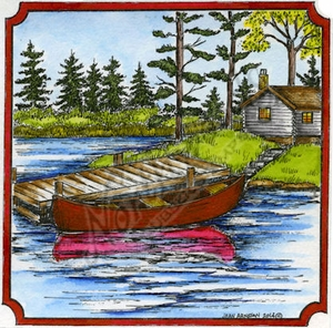 PP9539 Canoe, Dock And Cabin In Notched Square