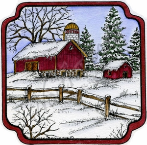 PP9626 Barn And Fence In Curved Frame