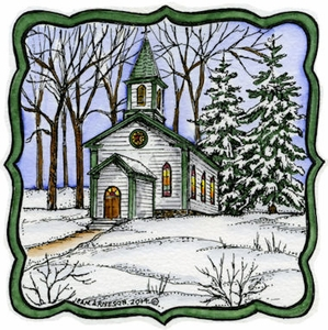 PP9638 Church And Pines In Curved Frame