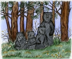 PP9741 Bear Family In Pines