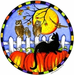 PP9812 Cat And Owls In Checkered Circle