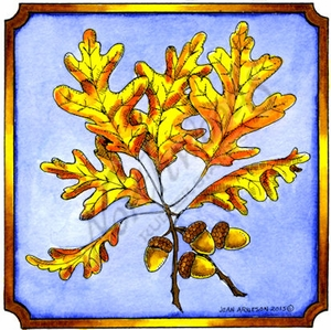 PP9834 White Oak Leaves And Acorns In Notched Square