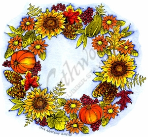 PP9856 Sunflower, Berry, Cone and Pumpkin Wreath