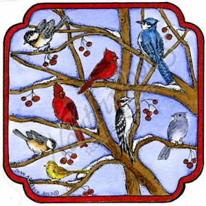 PP9860 Winter Birds On Branches In Curved Frame