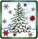 PP9907 Snowy Spruce And Snowflakes In Square