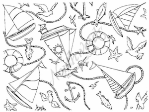 R1197 Sailboat and Fish Background Block