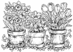 R1339 Springtime Flowers In Pots