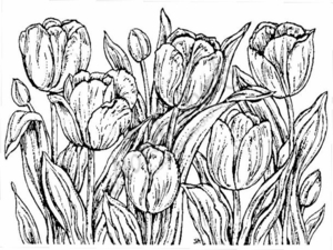 R1372 Tulip Background Block