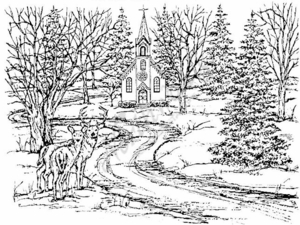 R2980 Church, Deer and Pines