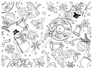 R3802 Snowman, Wreath, Bell and Holly Background Block