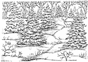 R3833 Snowy Spruce Scene With Deer