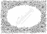 R3839 Poinsettia and Apple Blossom Oval Frame