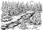 R3877 Snowy Spruce, Stream and Moon