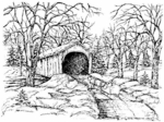 R3957 Winter Covered Bridge With Sleigh
