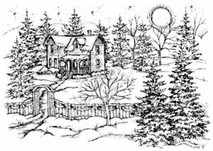 R4839 Snowy House, Arbor and Pine