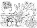 R6985 Bunnies and Flowers On Wall
