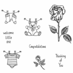 Rose Stem & Baby Cling Mounted Stamp Set