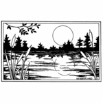 Sun and Cattails in Rectangle Frame - NN10431