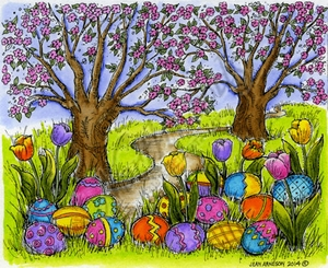 P9427 Tulips, Eggs And Spring Scene