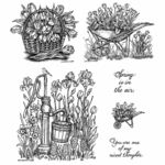Water Pump & Wheelbarrow Cling Mounted Stamp Set