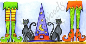O9584 Witches Legs With Cats And Hat