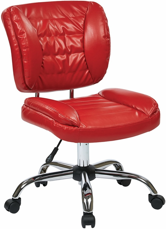 Armless Faux Leather Task Chair ST52050C in Red White or Black