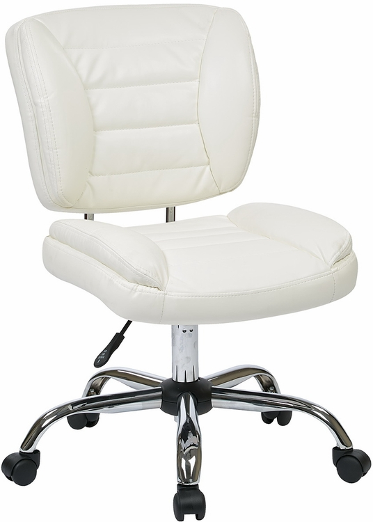Armless faux leather task chair st52050c in red white for Armless office chairs