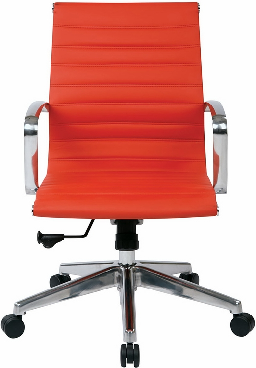 Managers Mid Back Red Leather Office Chair