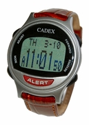 "12 Alarm CADEX LEATHER Medication Reminder and ""away from home"" Medical Alert Alarm Watch (952435)"