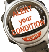 ALERT Bracelet with your health condition Color SILVER with Caduceus (942432)  Looks like a normal Watch until you press ALERT
