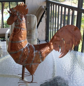 Copper Rooster Sculpture- By J. Royce Brown of Ipswich, MA