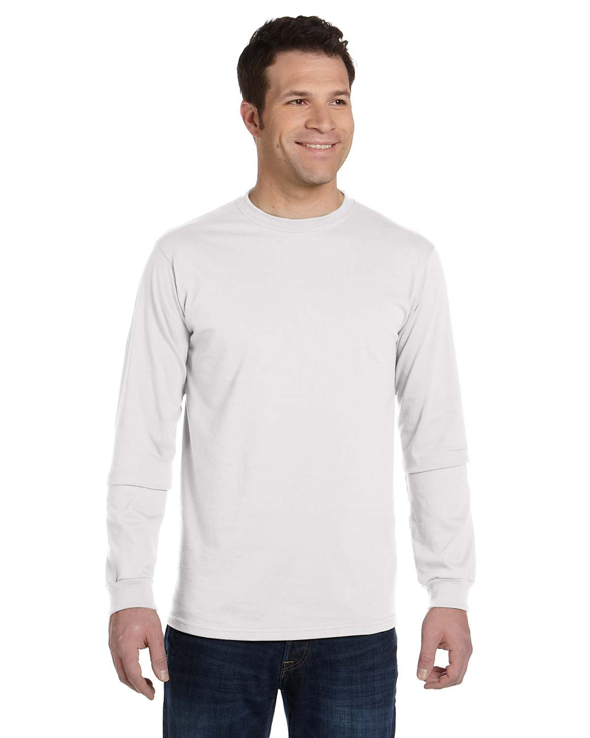 Men 39 s organic cotton ring spun long sleeve t shirt Mens long sleeve white t shirt