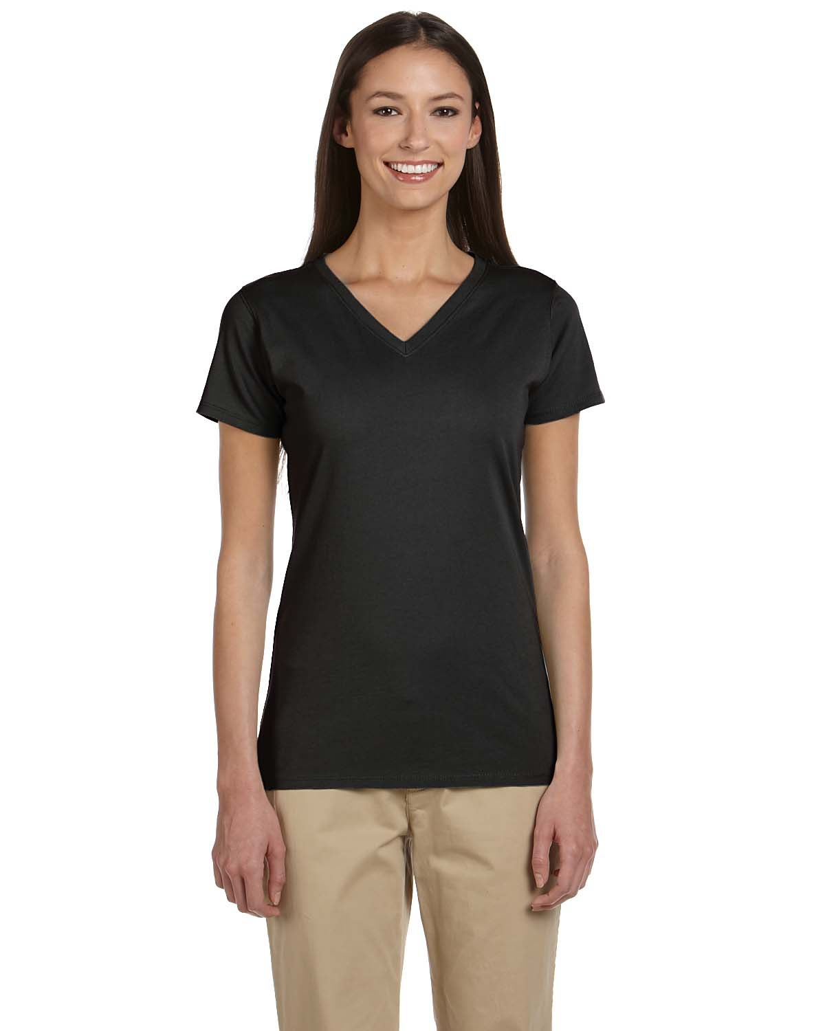 Certified organic cotton women 39 s short sleeve v neck t for V neck black t shirt