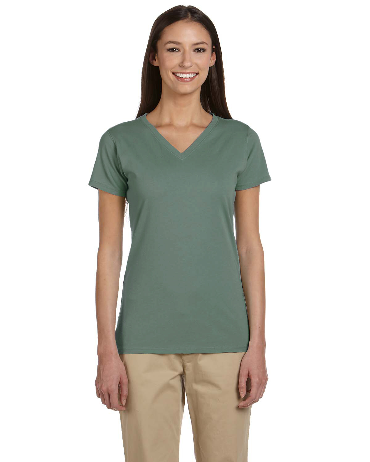 Certified organic cotton women 39 s short sleeve v neck t for Short sleeve t shirts with longer sleeves