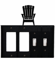 Double GFI & Double Switch Cover, Adirondack Chair, Wrought Iron