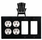 Double Outlet & Double GFI Cover, Adirondack Chair, Wrought Iron