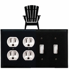 Double Outlet & Double Switch Cover, Adirondack Chair, Wrought Iron
